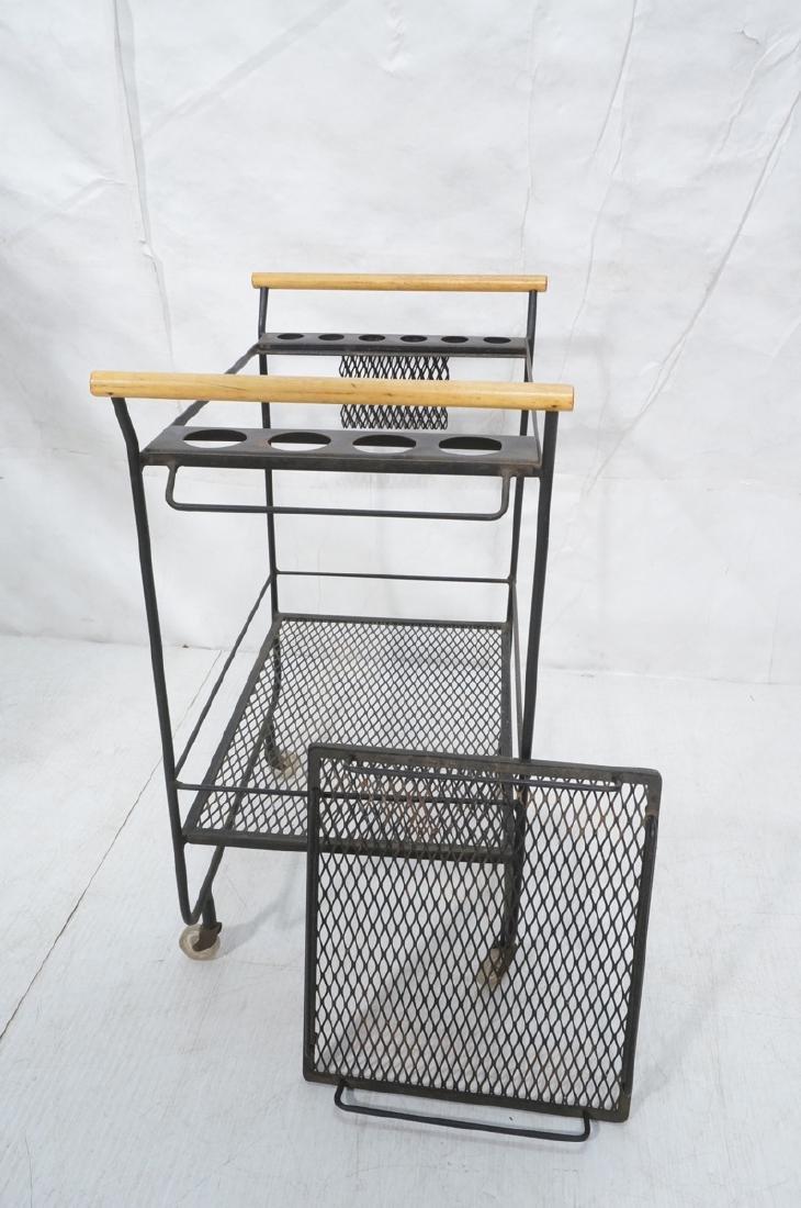 Rolling Black Metal Modernist Bar Cart. Two Diamo - 6