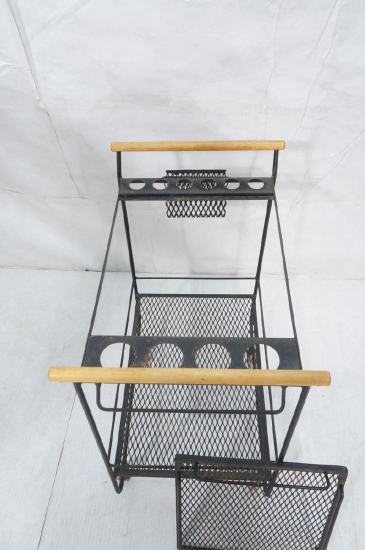 Rolling Black Metal Modernist Bar Cart. Two Diamo - 7