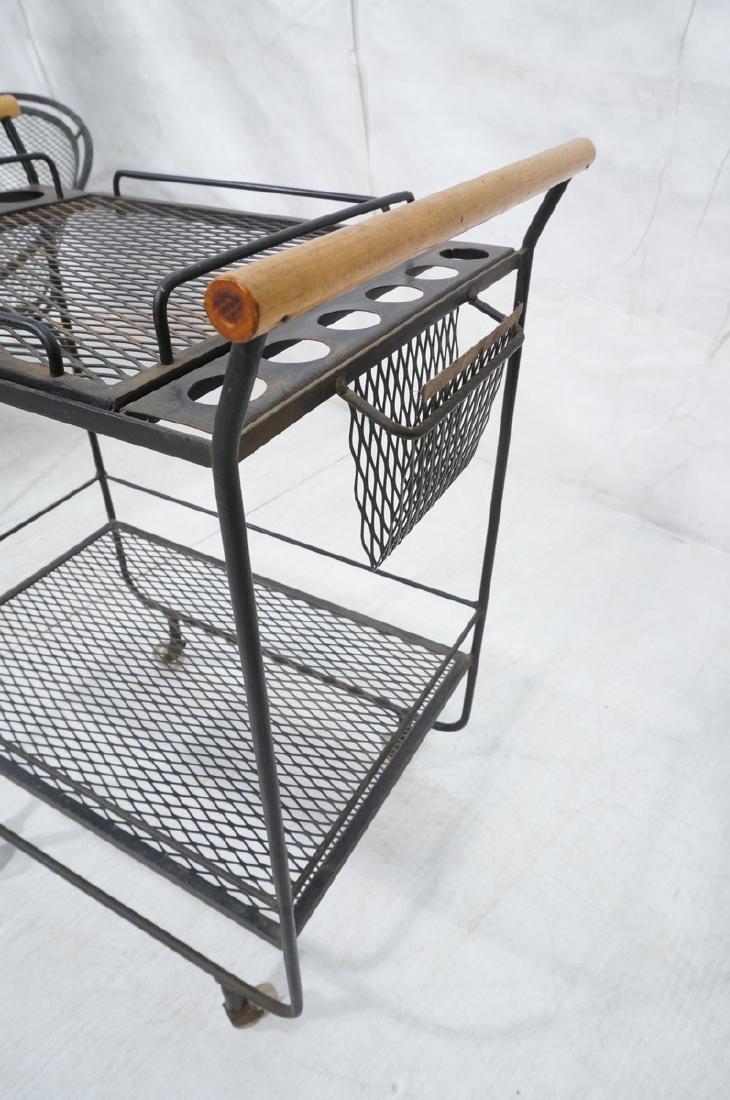Rolling Black Metal Modernist Bar Cart. Two Diamo - 8
