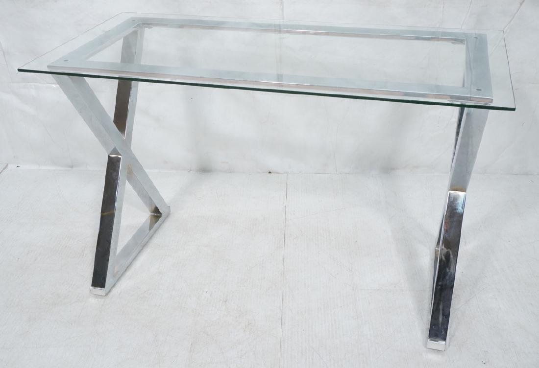 Chrome X Side Glass Top Hall Table. Thin glass to
