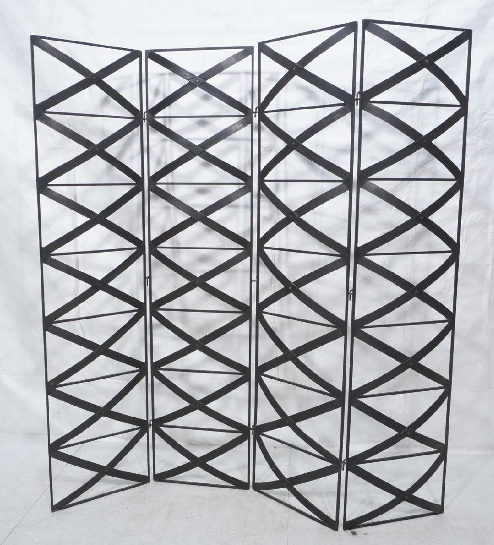 4 Panel Decorator Black Iron Folding Screen Room