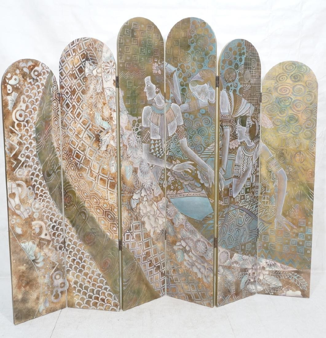 6 Panel Figural Decorator Screen Room Divider. 3