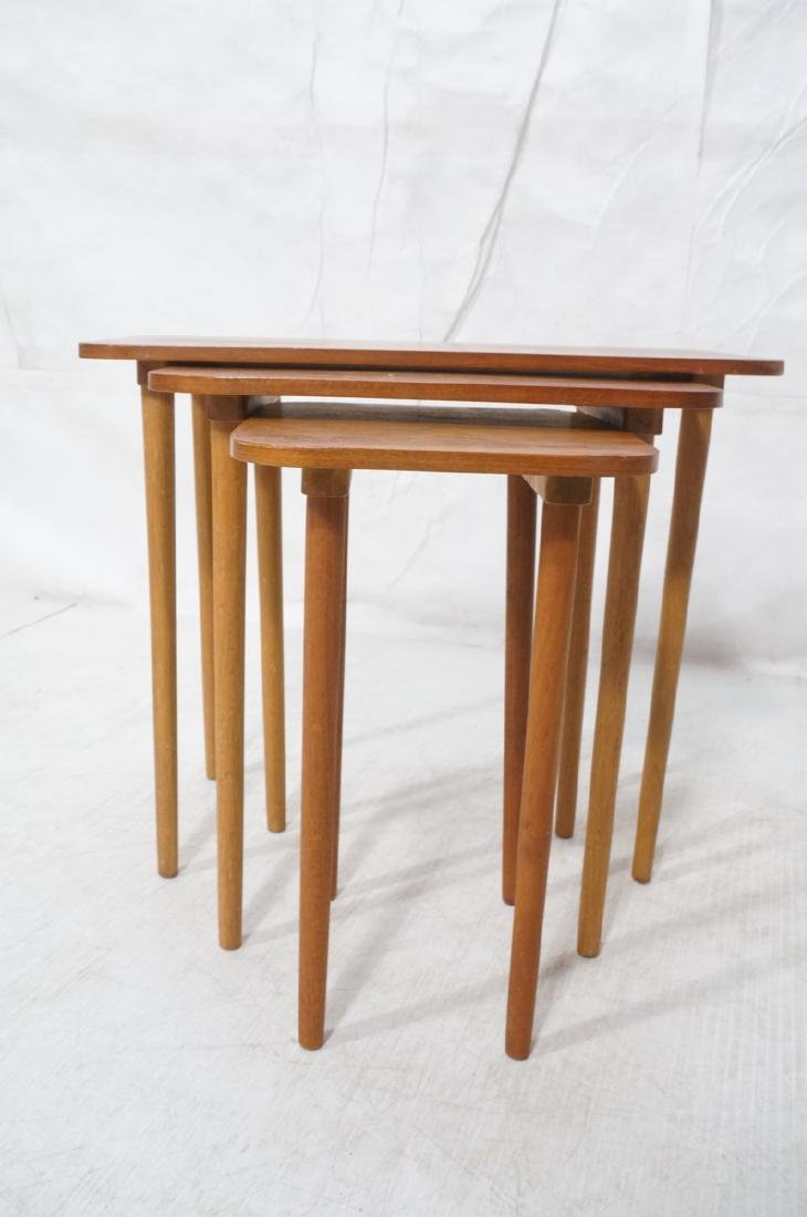 3 pc Modernist Wood Nesting Tables. Rounded corne - 2