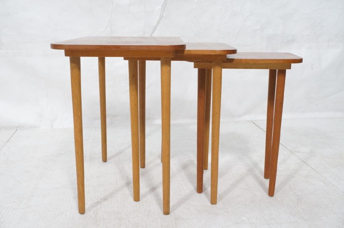 3 pc Modernist Wood Nesting Tables. Rounded corne - 3