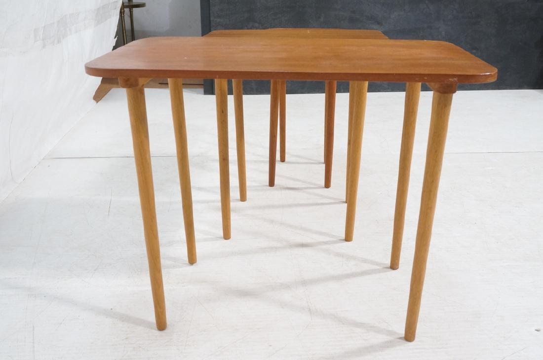 3 pc Modernist Wood Nesting Tables. Rounded corne - 5