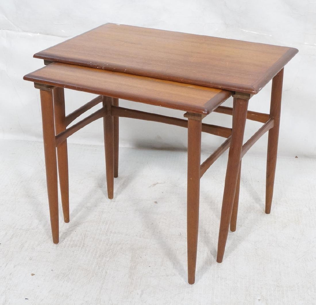 2pc American Modern Walnut Nesting Tables. Banded