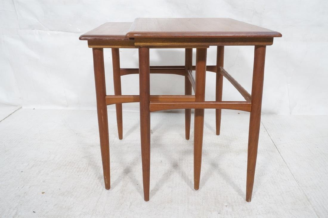 2pc American Modern Walnut Nesting Tables. Banded - 3