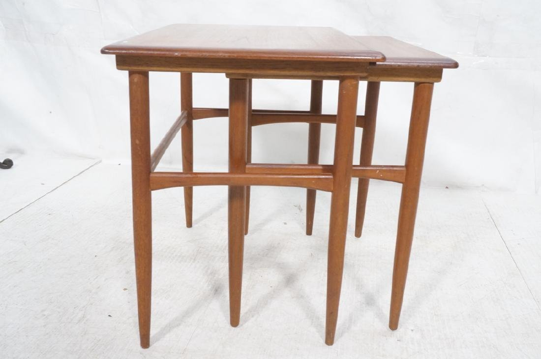 2pc American Modern Walnut Nesting Tables. Banded - 5