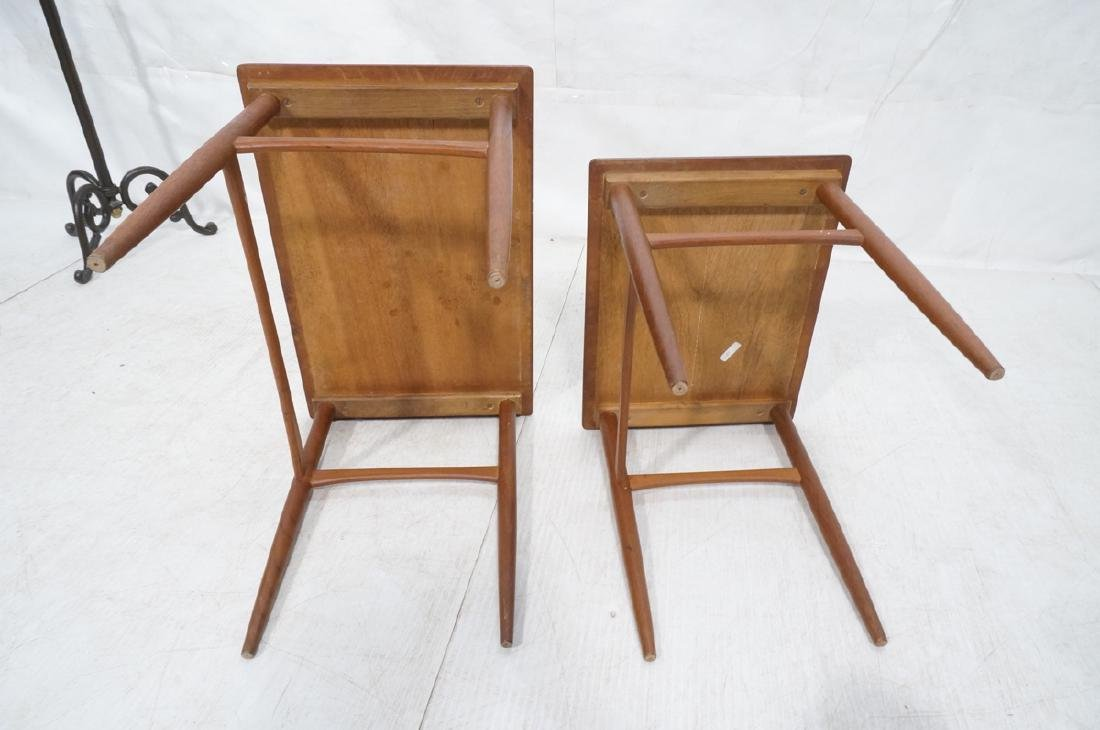 2pc American Modern Walnut Nesting Tables. Banded - 7