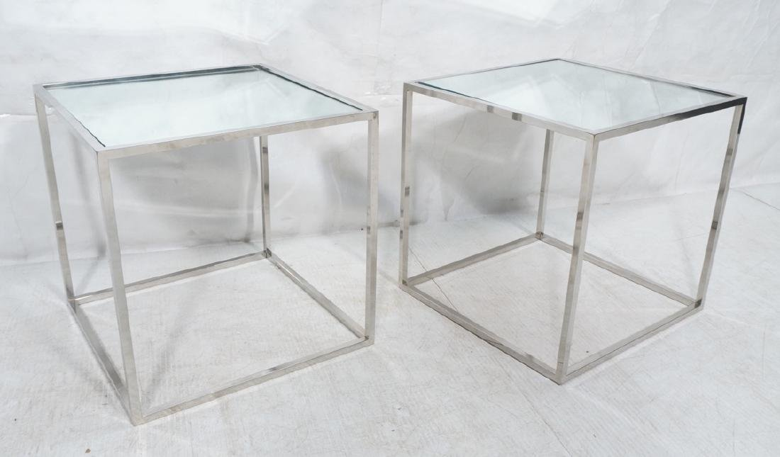 Pr Modernist Mirror top Chrome Cube Side Tables.