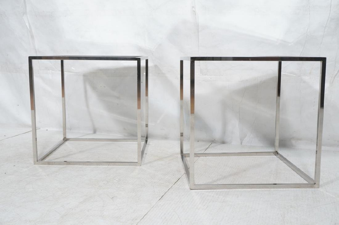 Pr Modernist Mirror top Chrome Cube Side Tables. - 2