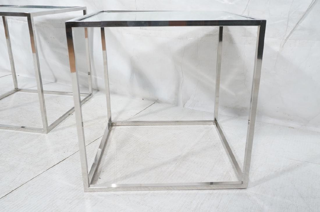 Pr Modernist Mirror top Chrome Cube Side Tables. - 4