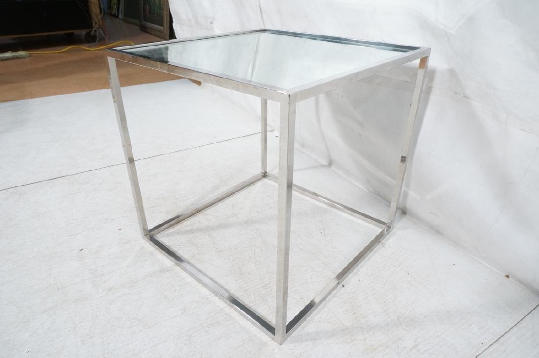 Pr Modernist Mirror top Chrome Cube Side Tables. - 6