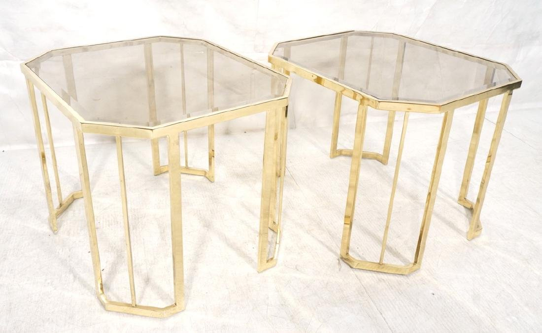 Pr Octagonal Beveled Glass & Brass End Side Table