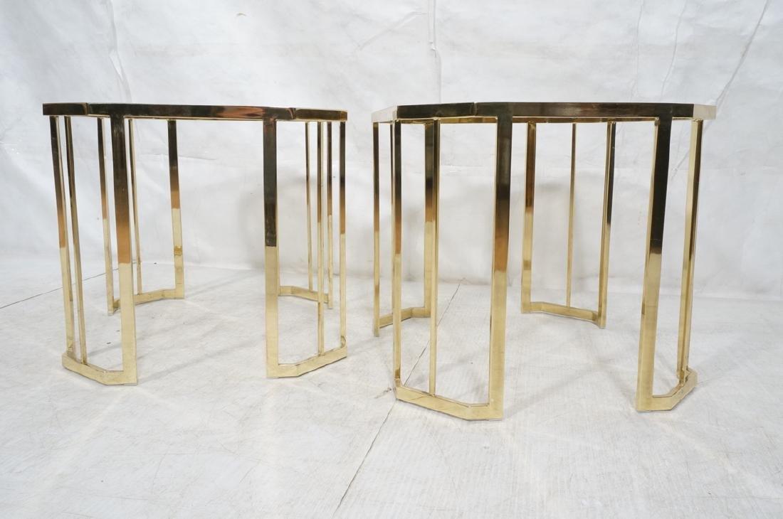Pr Octagonal Beveled Glass & Brass End Side Table - 2