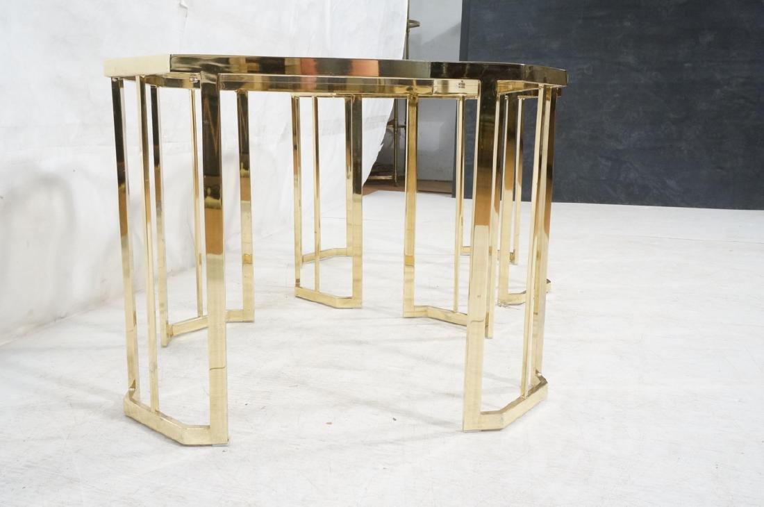 Pr Octagonal Beveled Glass & Brass End Side Table - 3