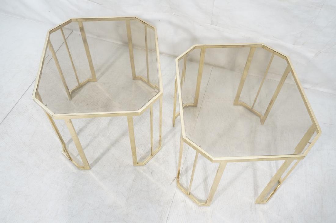 Pr Octagonal Beveled Glass & Brass End Side Table - 4