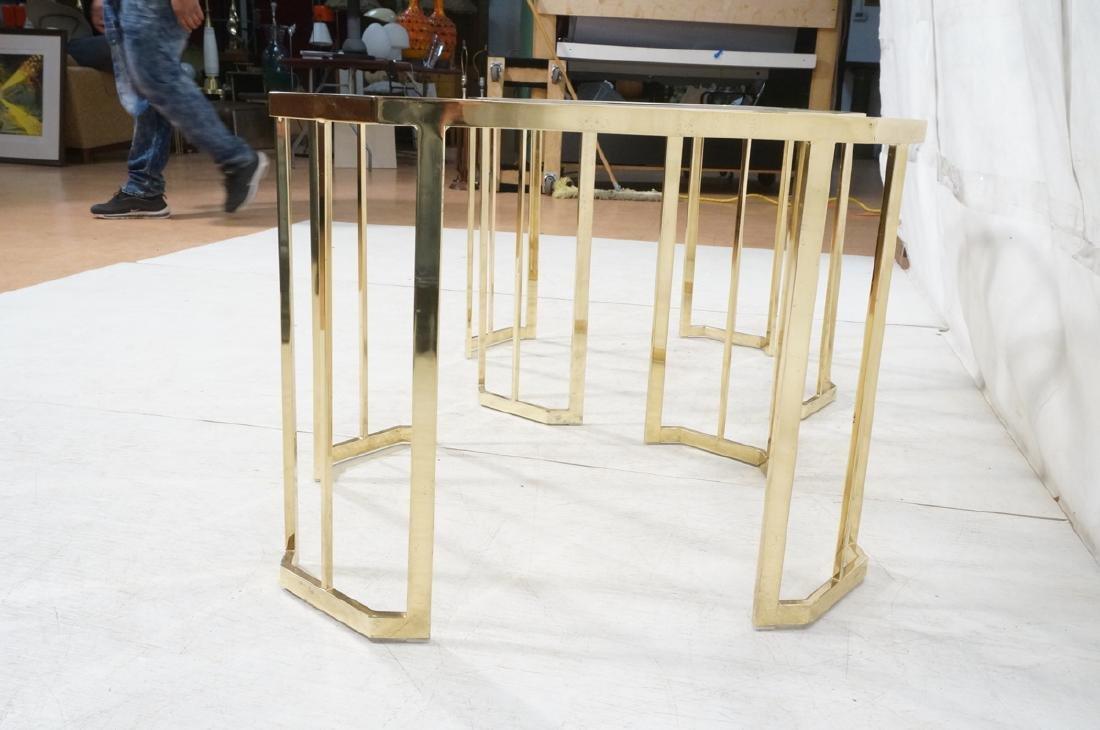 Pr Octagonal Beveled Glass & Brass End Side Table - 5