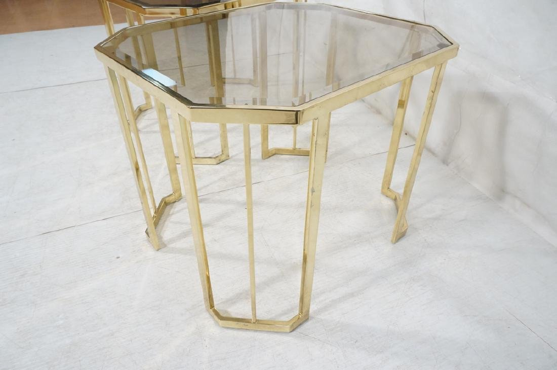 Pr Octagonal Beveled Glass & Brass End Side Table - 6
