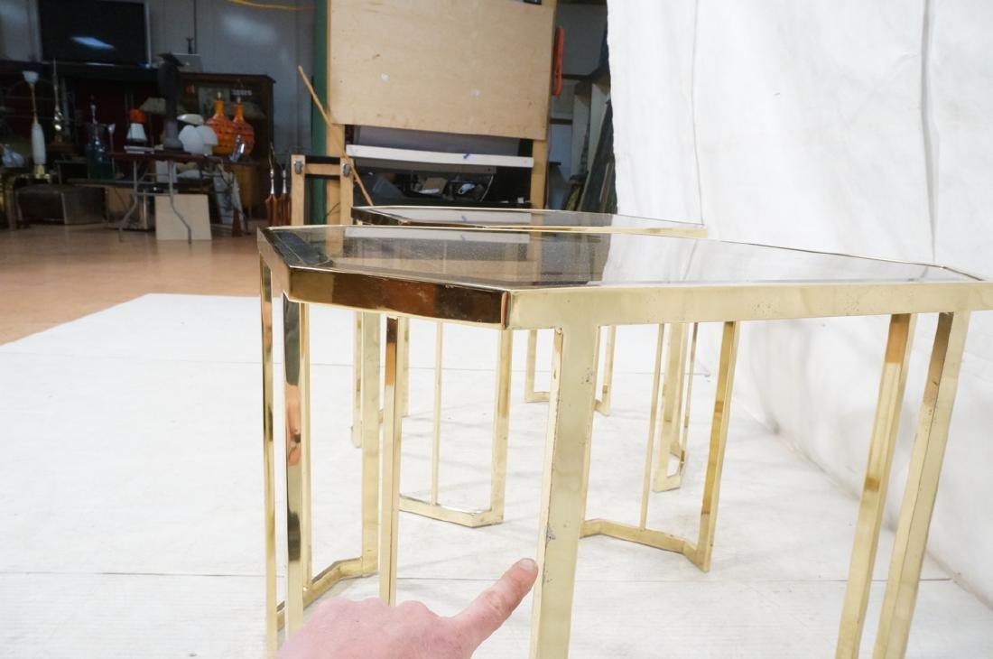 Pr Octagonal Beveled Glass & Brass End Side Table - 7