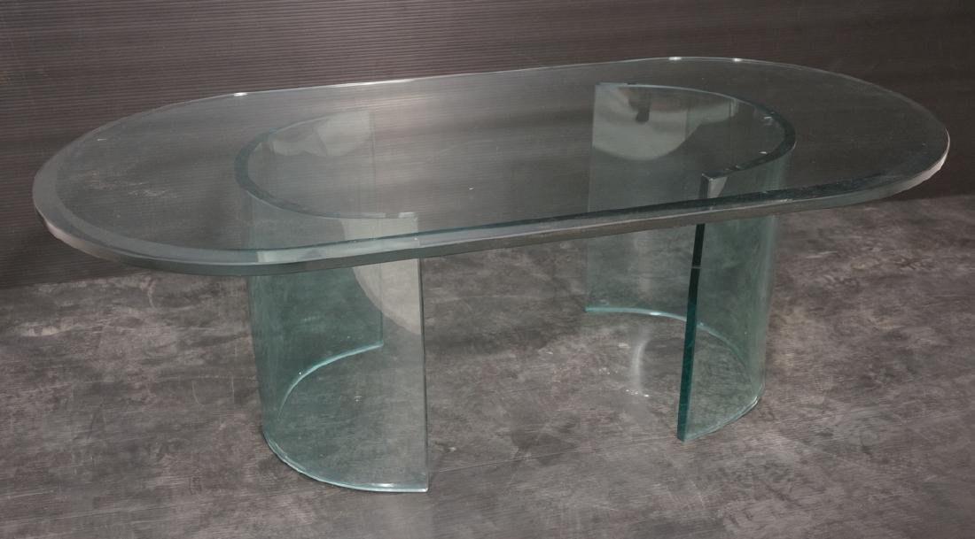 Glass Top Double Pedestal Coffee Table. Beveled R