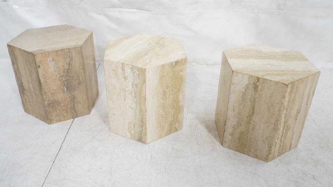 Set 3 Travertine Marble Hexagonal Tables Stands.