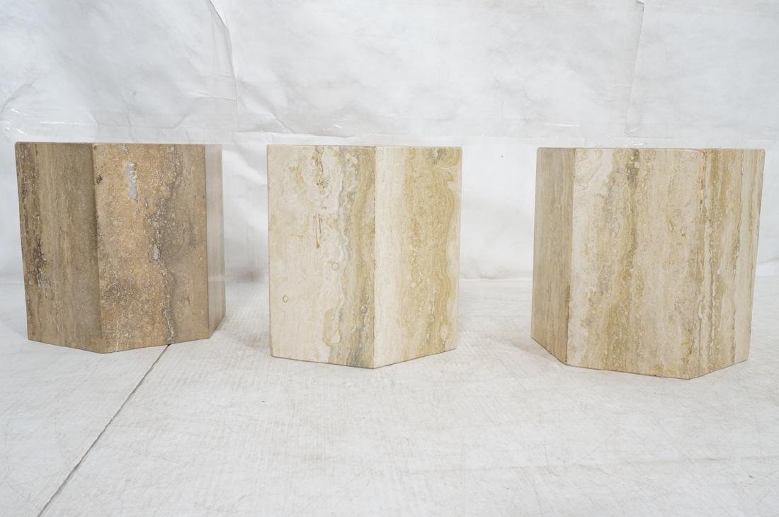 Set 3 Travertine Marble Hexagonal Tables Stands. - 2