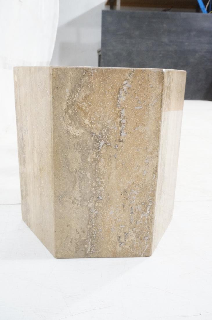 Set 3 Travertine Marble Hexagonal Tables Stands. - 3