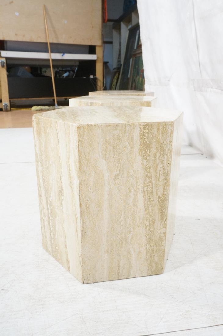 Set 3 Travertine Marble Hexagonal Tables Stands. - 5