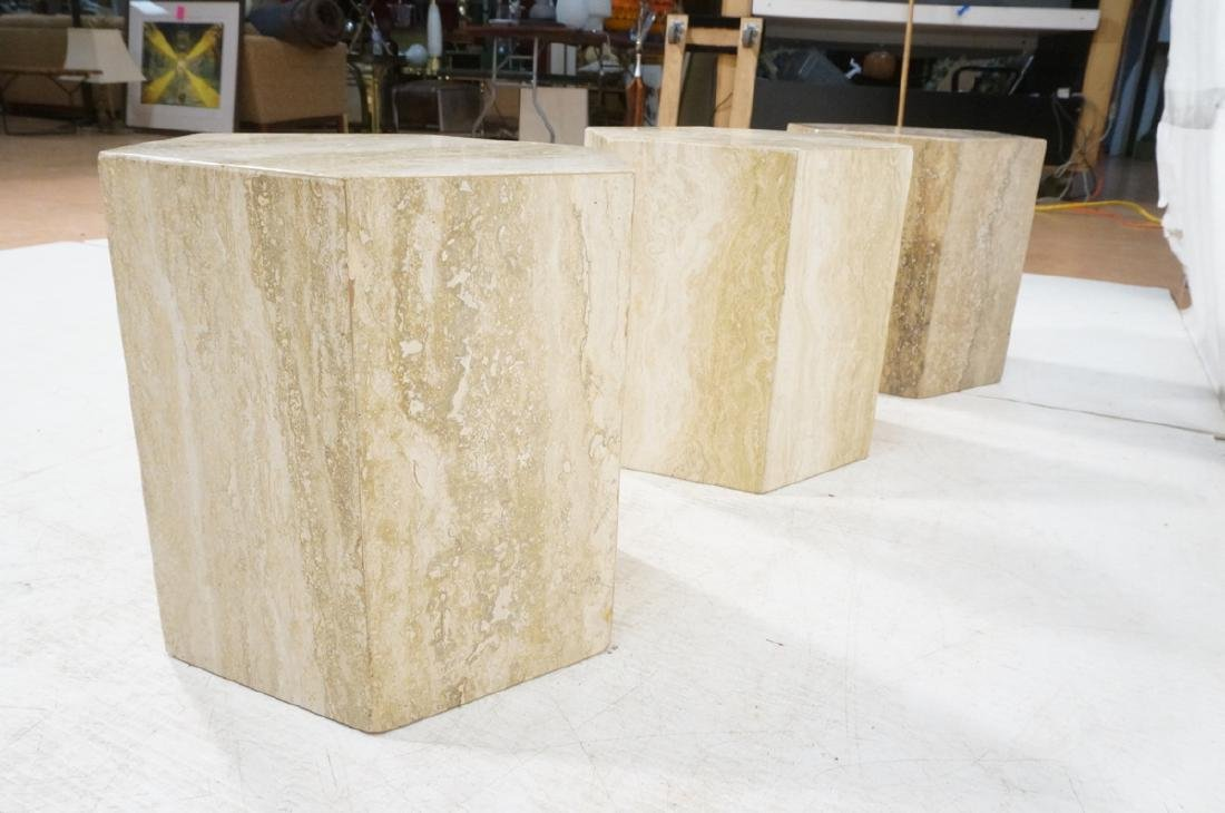 Set 3 Travertine Marble Hexagonal Tables Stands. - 6