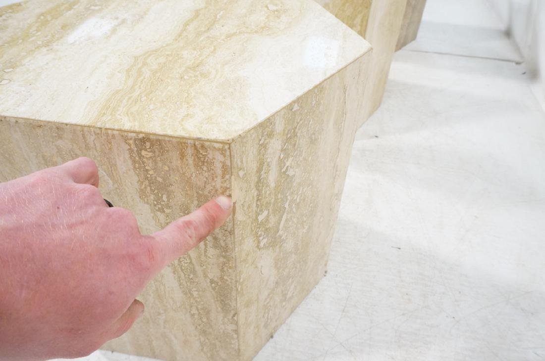 Set 3 Travertine Marble Hexagonal Tables Stands. - 7