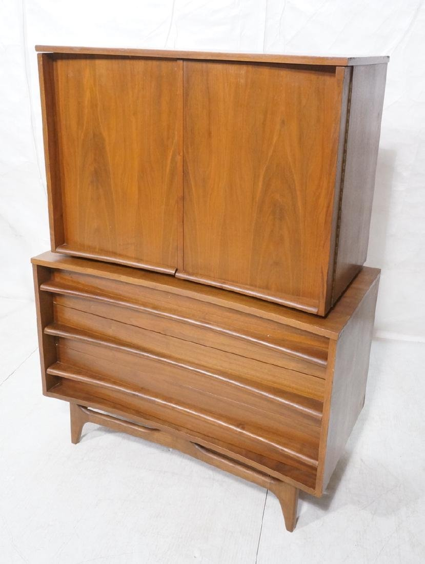 American Modern Walnut Chest on Chest Dresser. Lo