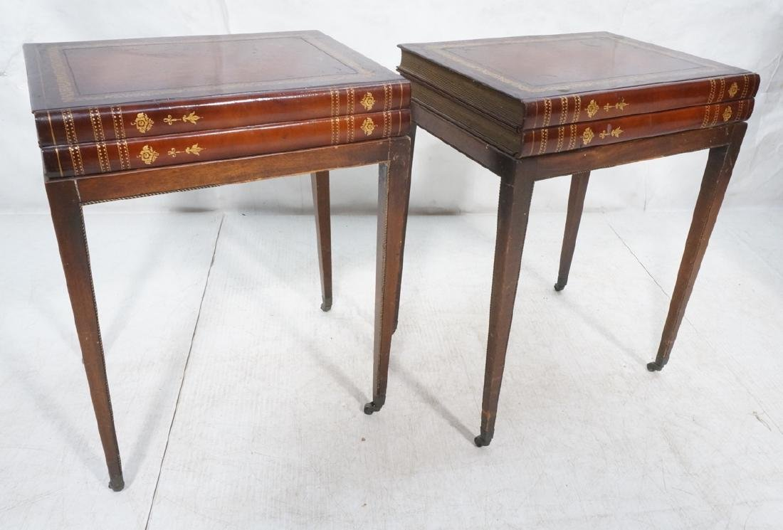 Pr Decorator Leather Faux Book Side Tables. Top c