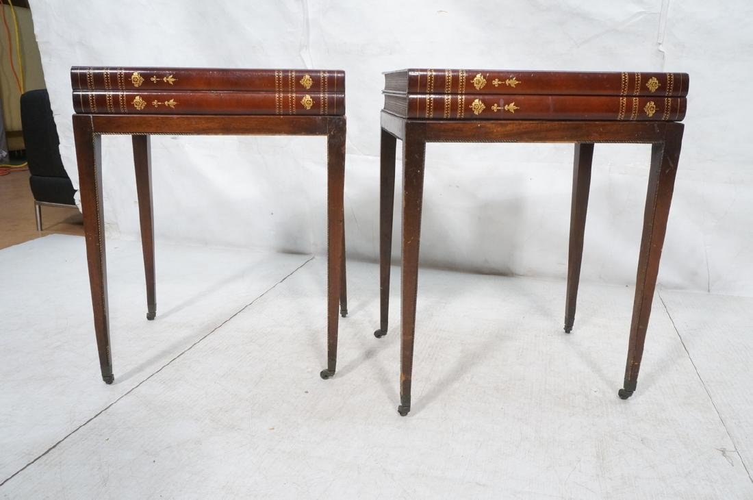 Pr Decorator Leather Faux Book Side Tables. Top c - 2