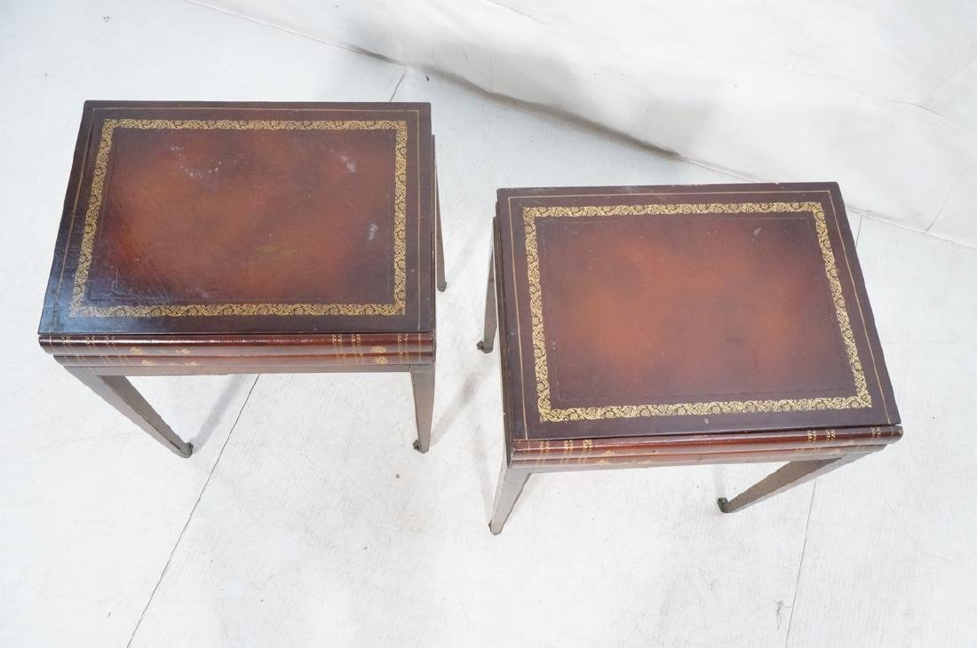 Pr Decorator Leather Faux Book Side Tables. Top c - 3