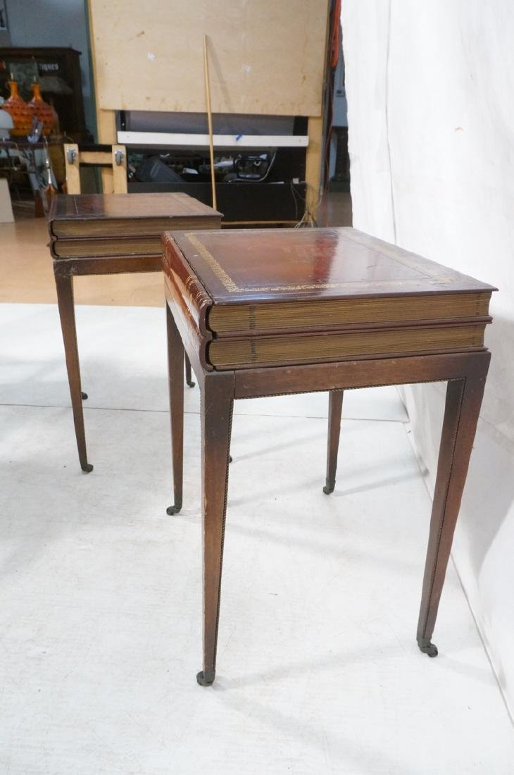Pr Decorator Leather Faux Book Side Tables. Top c - 5