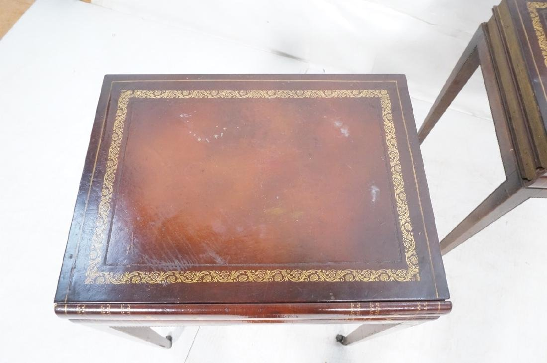 Pr Decorator Leather Faux Book Side Tables. Top c - 7