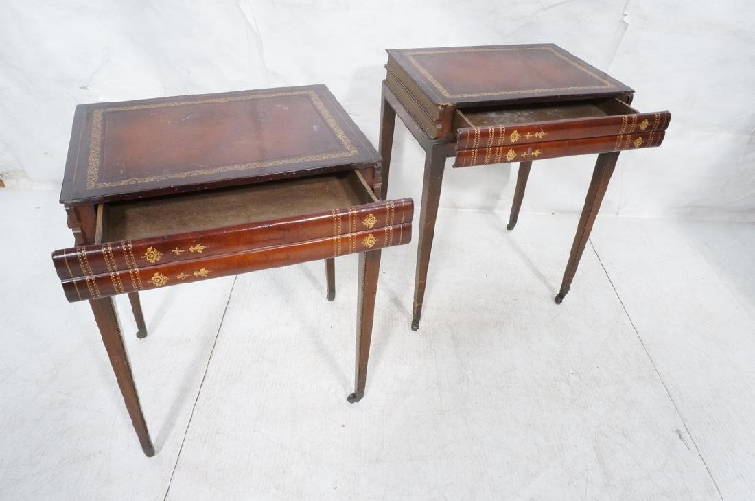 Pr Decorator Leather Faux Book Side Tables. Top c - 8