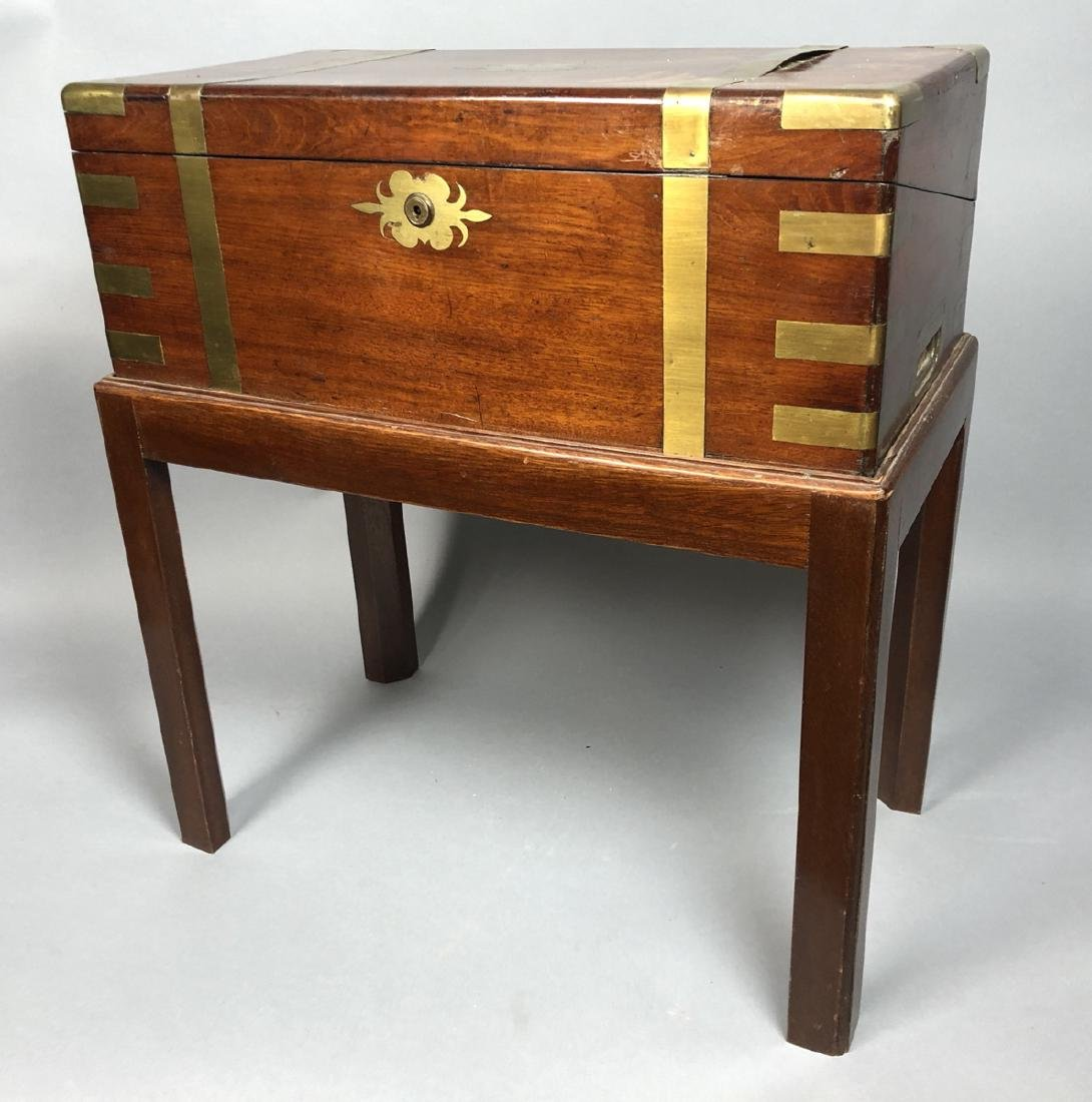 Brass Bound Portable Writing Desk on Stand. Hinge