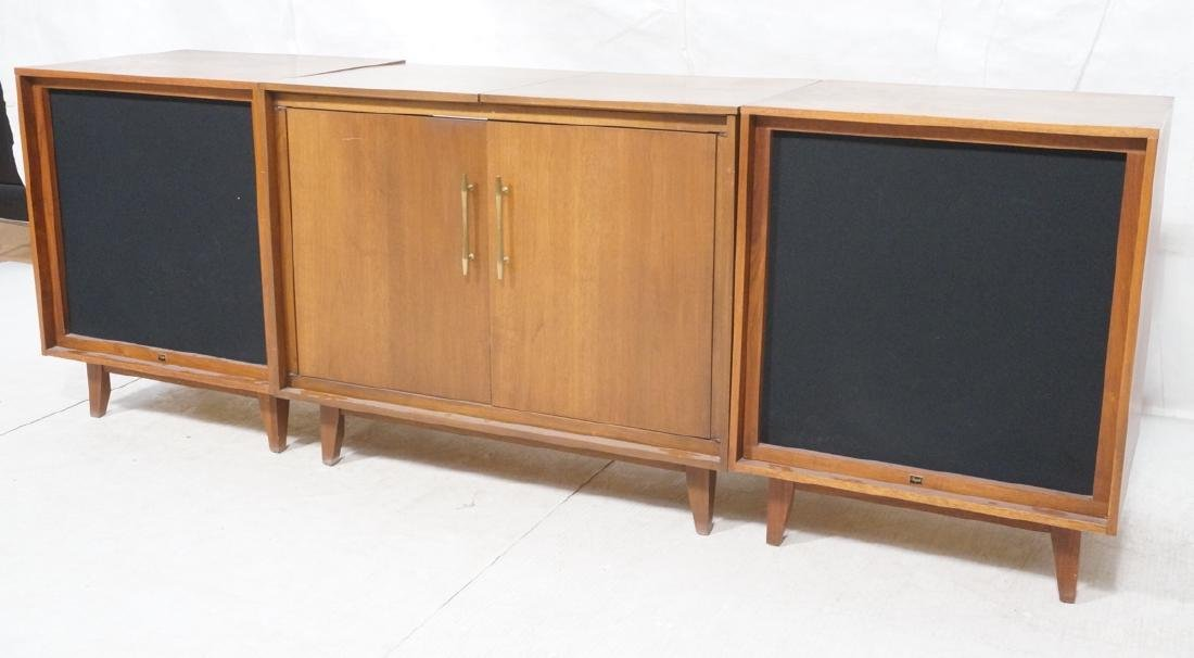 Modernist Walnut 3 Cabinet Stereo System. 2 cube
