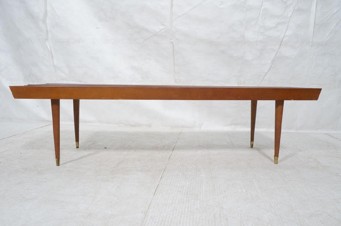 Long Modernist Slat Bench Coffee Table. Tapered p - 2