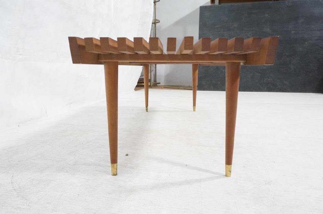 Long Modernist Slat Bench Coffee Table. Tapered p - 5