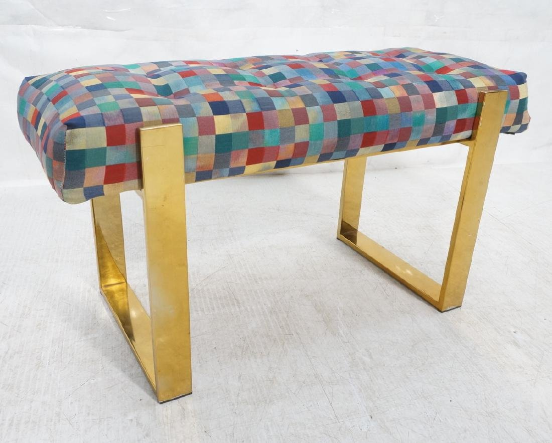 Brass Finish Upholstered Seat Modernist Bench. Co