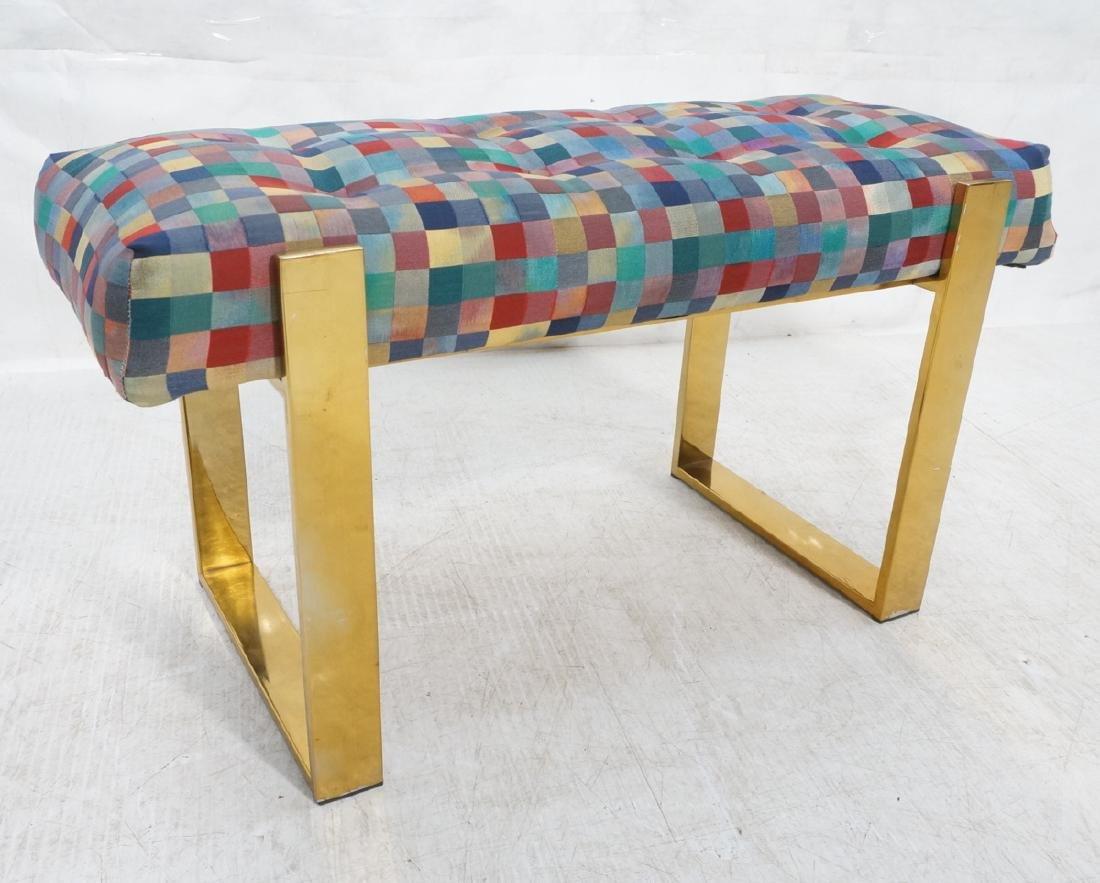 Brass Finish Upholstered Seat Modernist Bench. Co