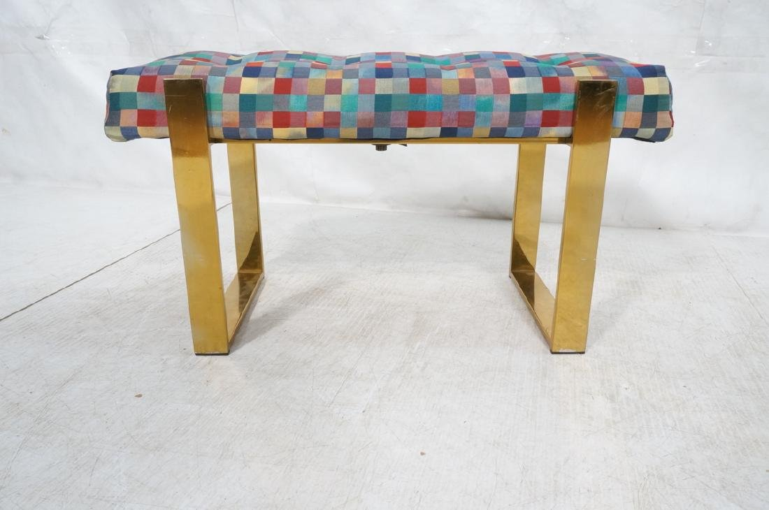 Brass Finish Upholstered Seat Modernist Bench. Co - 2