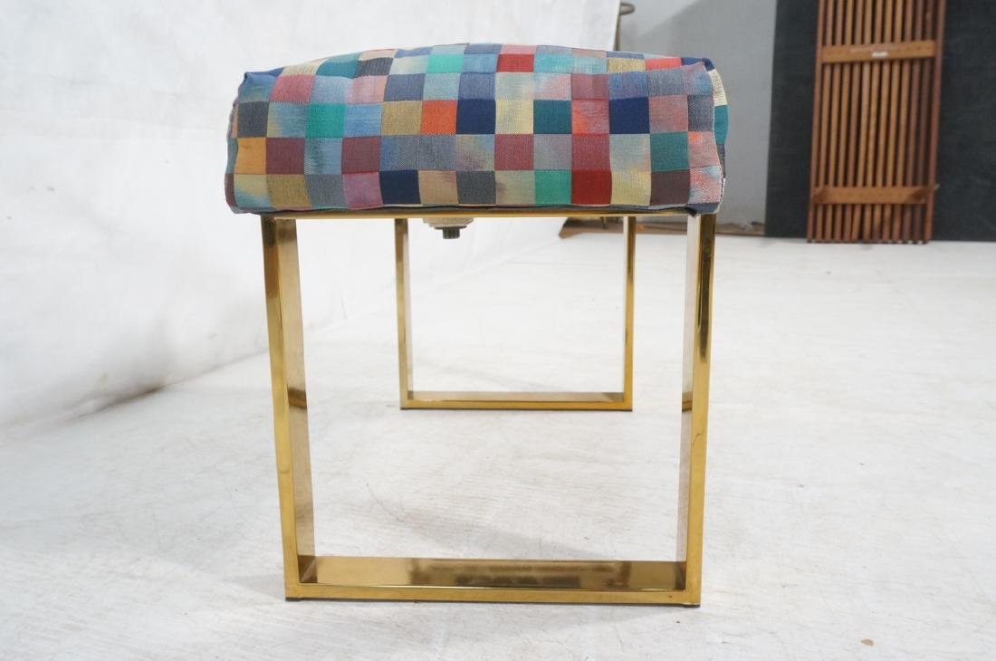 Brass Finish Upholstered Seat Modernist Bench. Co - 3