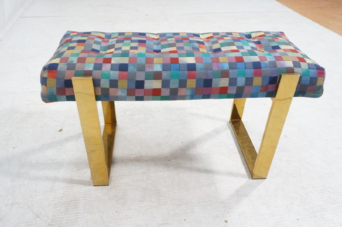 Brass Finish Upholstered Seat Modernist Bench. Co - 5