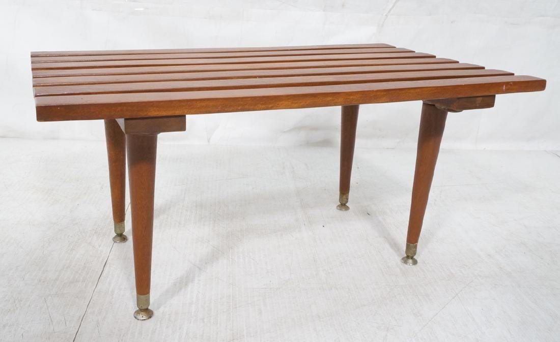 Small Modernist Slat Bench Low Table. Peg legs wi