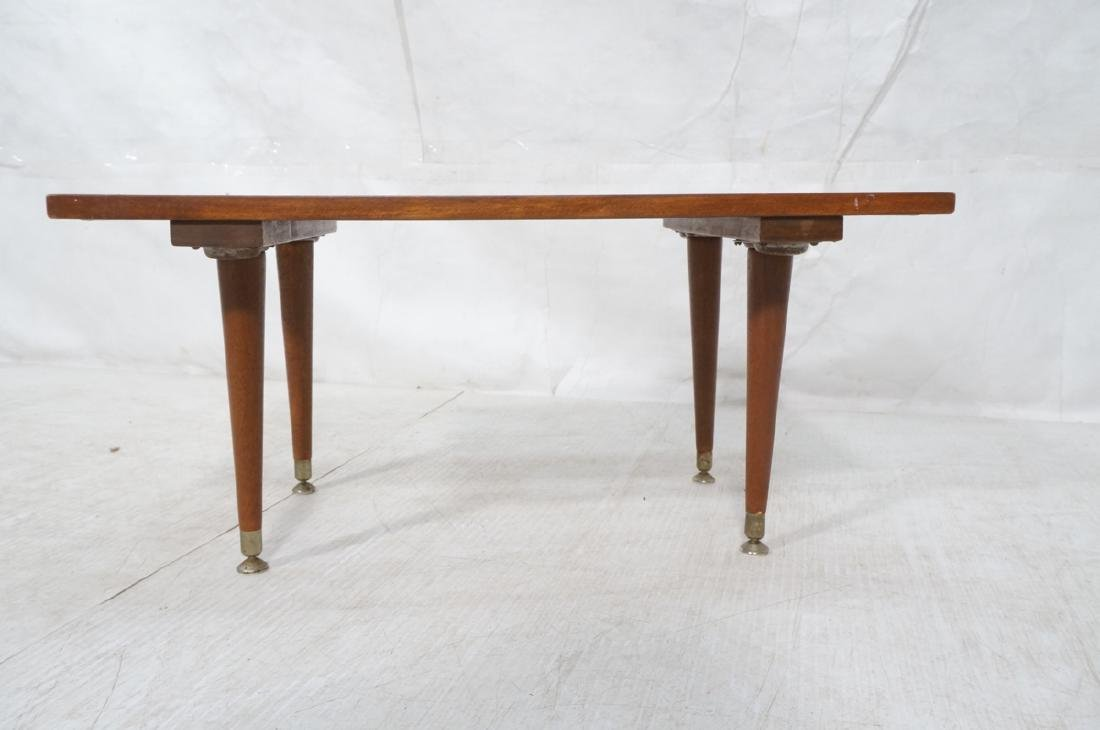 Small Modernist Slat Bench Low Table. Peg legs wi - 2