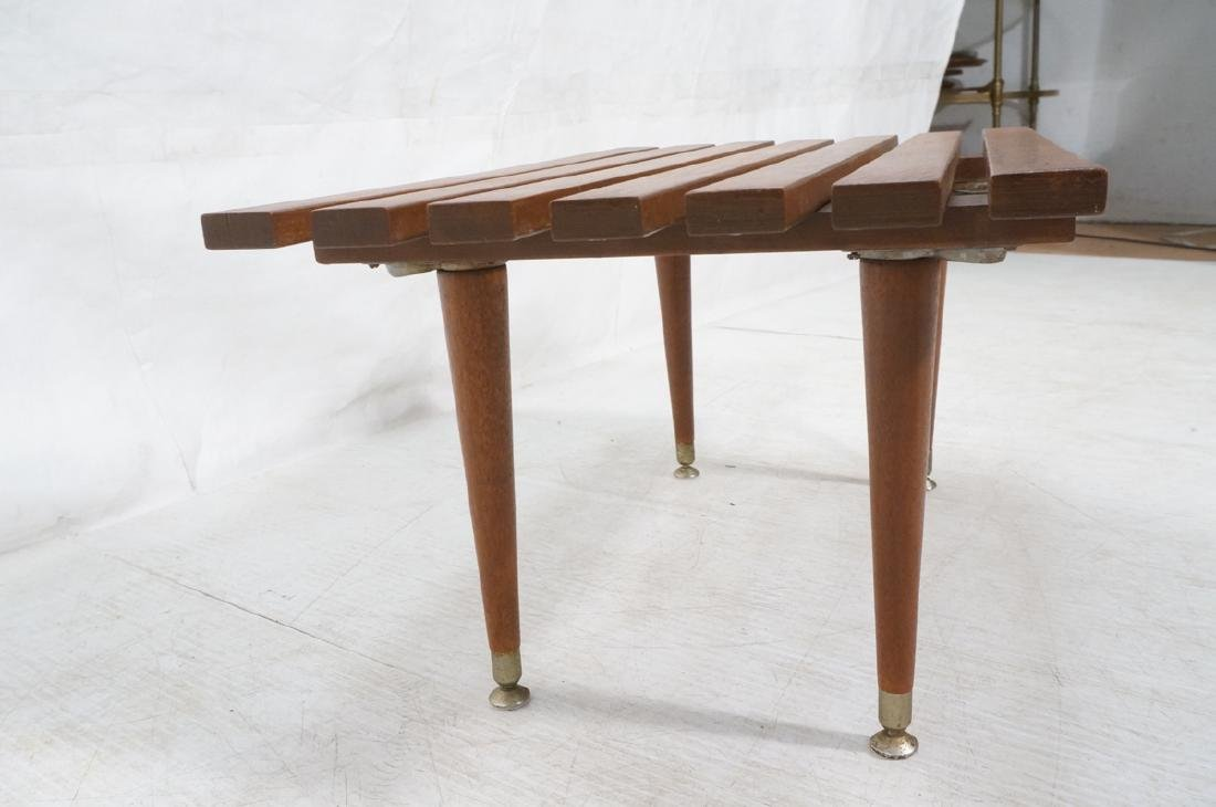 Small Modernist Slat Bench Low Table. Peg legs wi - 3